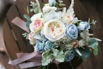JaneVini Elegante Ramos De Boda Flores De Seda Artificial Rosas Luz Azul Bouquet De Mariage Bruidsboeket Gris
