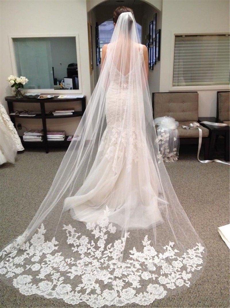 Wedding Accessories 2018 Appliques Tulle Long Cathedral Wedding Veil Lace Edge Bridal Veil with Comb veu de noiva longo(China)