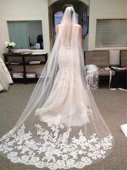 Wedding Accessories 2018 Appliques Tulle Long Cathedral Wedding Veil Lace Edge Bridal Veil with Comb veu de noiva longo - DISCOUNT ITEM  0% OFF All Category