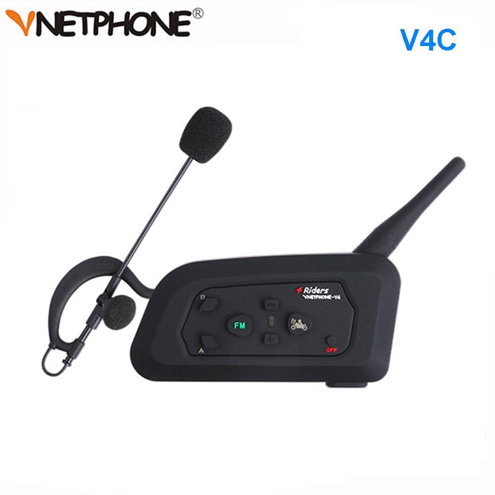 1 pçs futebol árbitro interfone fone de ouvido vnetphone v4c 1200 m completo duplex bluetooth fone com fm sem fio interfone futebol