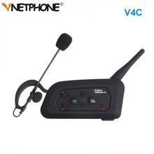 1 pz Arbitro di Calcio Citofono Auricolare Vnetphone V4C 1200 m Full Duplex Bluetooth Cuffia con FM Senza Fili di Calcio Interphone