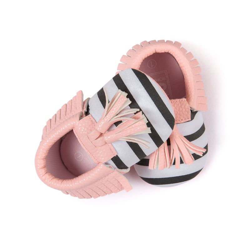 Baby Shoes Baby Soft PU Leather Tassel Moccasins Girls Bow Moccs Moccasin Bow Design First Walkers Hot Sale