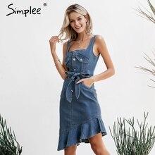 vestidos 2019 Simplee カジュアルブルー女性の夏のデニムドレスエレガントなフリルマーメイドサッシュボタンジーンズドレスストリートボディコン