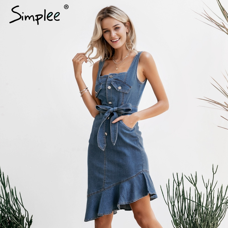 Simplee Casual blue women summer denim dress Elegant ruffle mermaid sash buttons jeans dresses Streetwear bodycon vestidos 2019