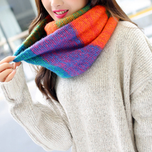 New Mixed Color Striped Warm Scarf Knitted Wool Neck Cowl Spring Autumn Cozy Scarf for Ladies Color Matching Knitted Wool Scarfs цена