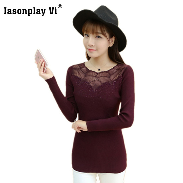 Jasonplay Vi & O-Neck Lace Sweater Women 2017 Winter New arrival Pullovers Sweaters Slim Comforts High elastic Pull femme XY15