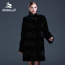 SISILIA 2016 New  ladies'  rabbit fur coats,Genuine mink fur coat,Mandarin Collar,Women natural black coats of fur,Sell well