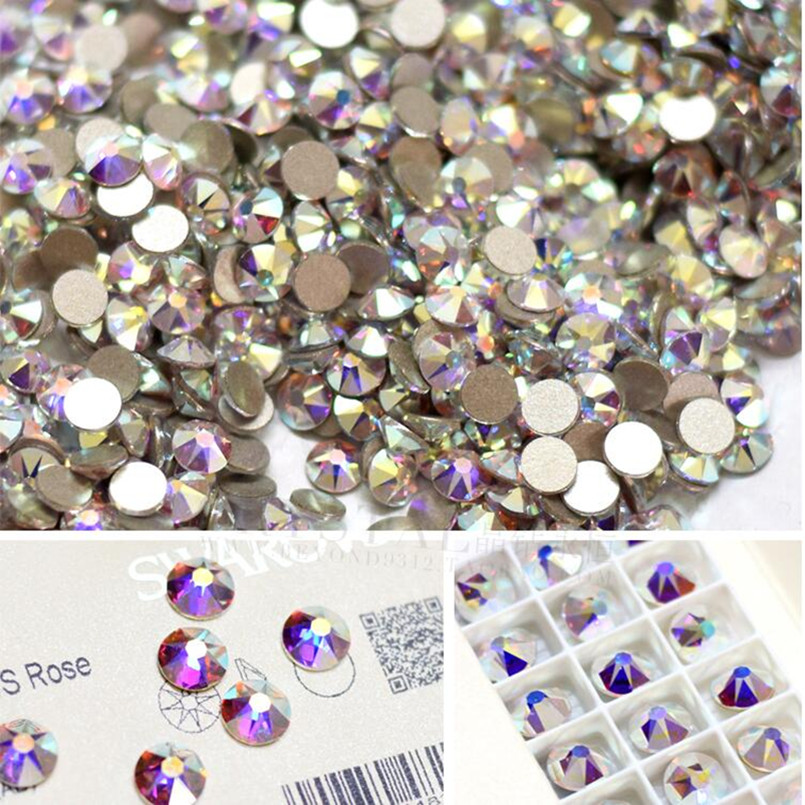 SS3 1440pcs/bag Flat Back Nail Art crystal ab Glue On Non Hotfix rhinestones for nails diy nail accessori decorations title=