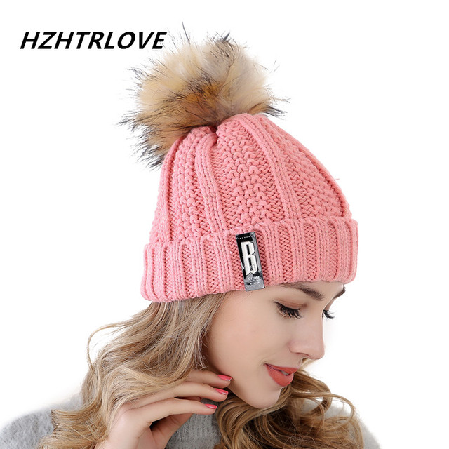 0977073fc90ea7 High Quality Letter B Beanies Cotton Add Wool Fur Ball Cap Pom Poms Winter  Hat For