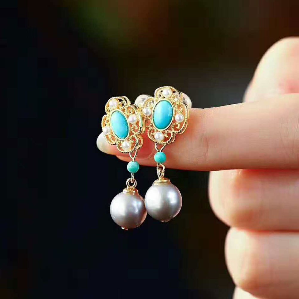 RADHORSE Earring Genuine 925 Sterling Silver Woman High jewelry Turquoise Pearl luxurious Modeling classic Style EarringRADHORSE Earring Genuine 925 Sterling Silver Woman High jewelry Turquoise Pearl luxurious Modeling classic Style Earring