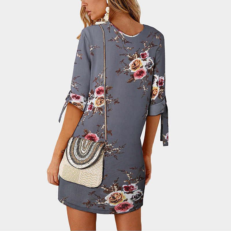 2019 модные Повседневное летнее женское платье свободного кроя однотонный короткий рукав шифоновое платье пикантные вечерние мини-платья, халаты, вестидо de fiesta