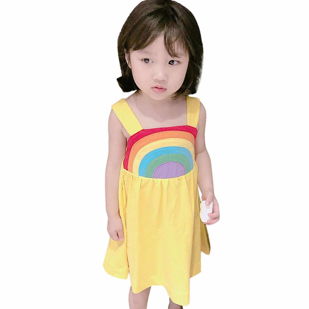 חמוד אופנה קשת קיצית שמש שמלת פעוט ילדים תינוקת קשת נסיכת רצועה מקרית שמלה קיצית קיץ F4