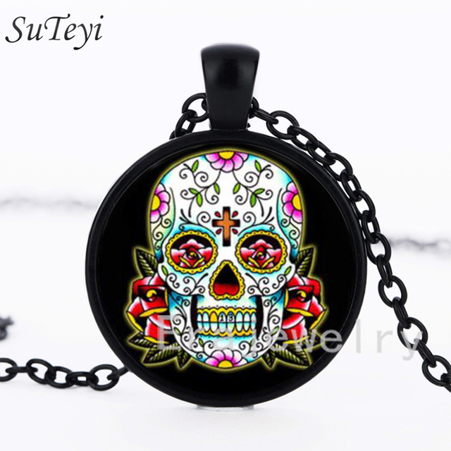 Suteyi Vintage Candy Color Tattoo Rose Cross Skull Head Necklace