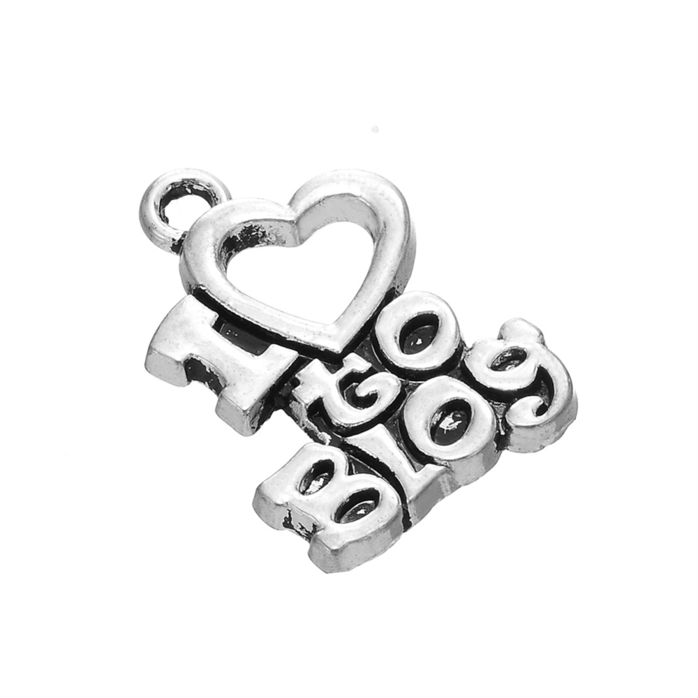 Metal Words Letter Engraved I Love To Blog Charms image