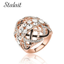 Statement Enamel Full Rhinestone Hollow Ring Vintage Geometric Rose Gold Color For Women Girl Gift Jewelry