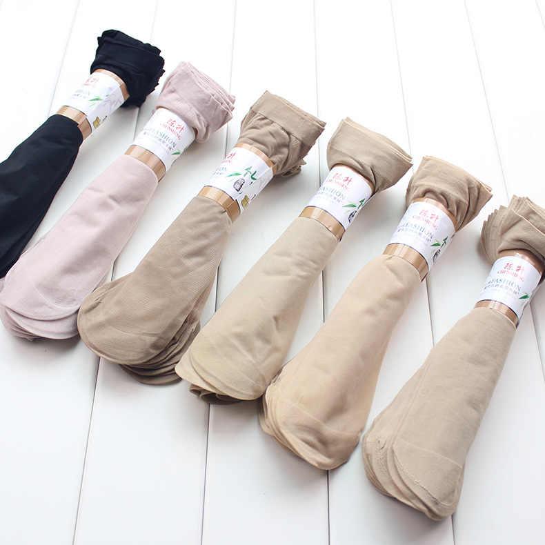 10 ペアホット販売夏スタイル絹の靴下の女性低価格クール感無地通気性セクシーなスキン靴下