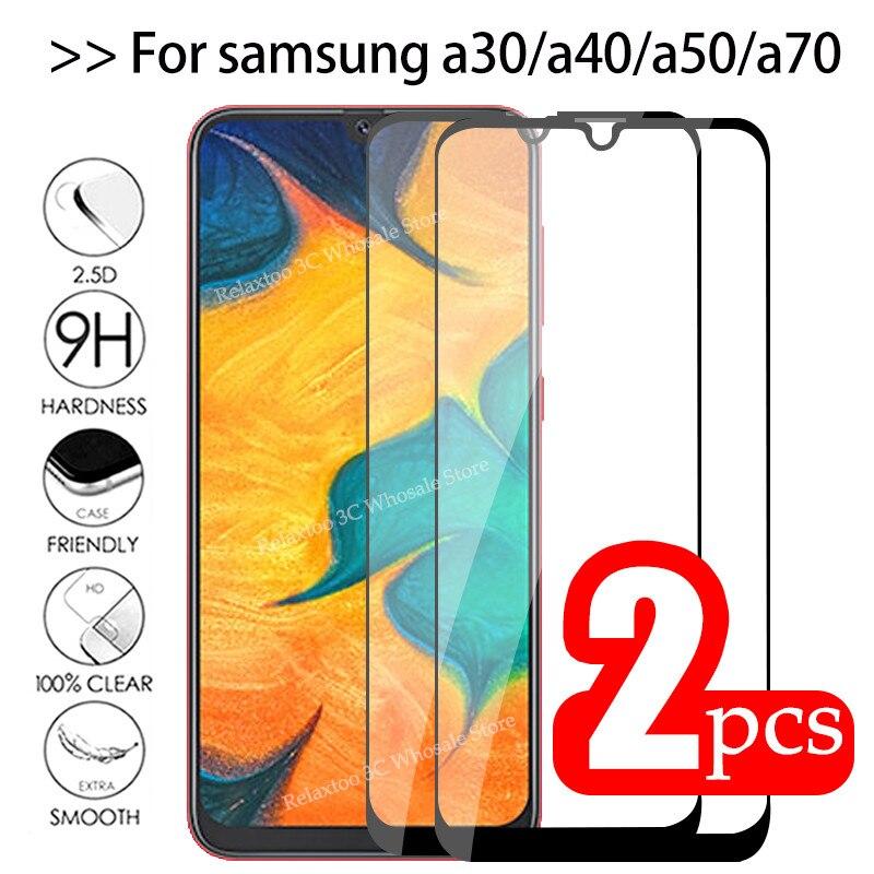 2 pçs/lote Completo Cola Samsun A50 Vidro No Para Samsung Galaxy A70 A40 A30 A50 Galax Vidro De Proteção UM 50 30 40 70 50A 70A Filme