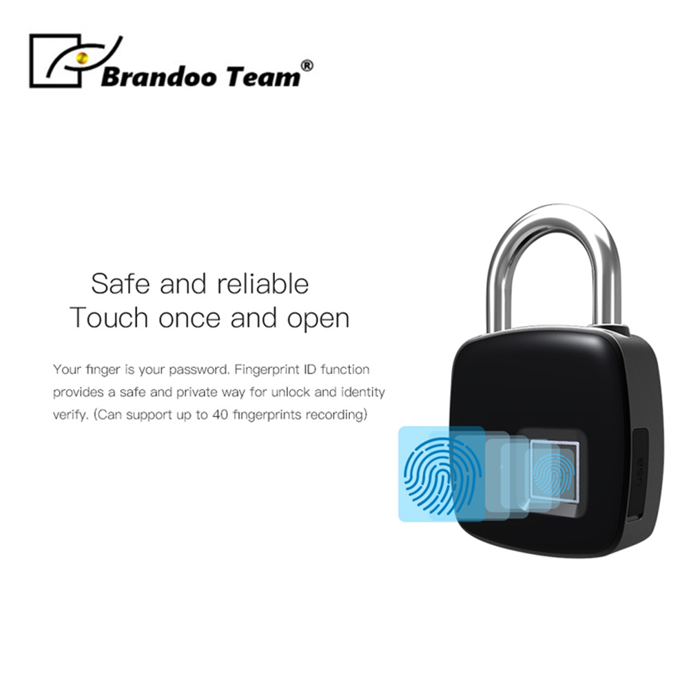Newest IP54 Waterproof portable Bluetooth smart Fingerprint Lock padlock Anti-Theft iOS Android APP lock Brandoo P3+Newest IP54 Waterproof portable Bluetooth smart Fingerprint Lock padlock Anti-Theft iOS Android APP lock Brandoo P3+