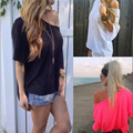 2016 Европа США новая мода простой женщины косой плеча случайные короткими рукавами Футболки сексуальное черное без бретелек женский топы свободные