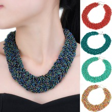 12 Colors Hot Sale Good Pirce Fast Shipment Trendy Handmade Colorized Bead Cluster Knit Braid Twist Hotsell Chunky Necklace