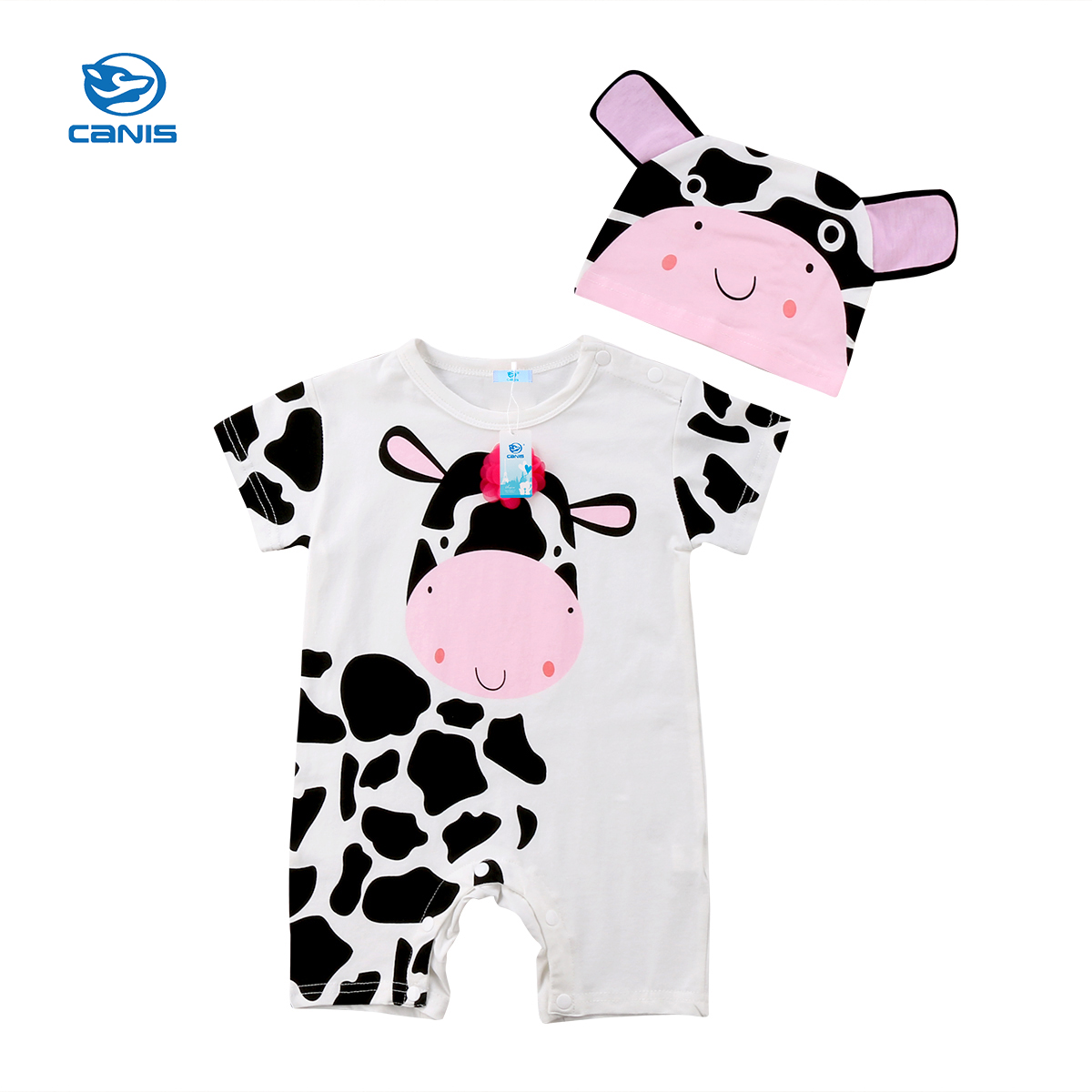 CANIS 2Pcs Lovely Summer Clothing Newborn Infant Baby Girl Boy Romper 3D Cows Hat Romper Jumpsuit Playsuit Outfit Clothing