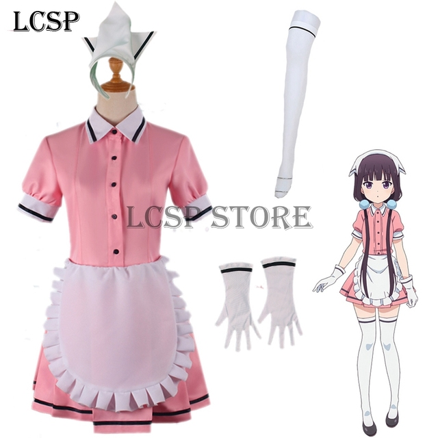 c9b528f685a LCSP Blend S Sakuranomiya Maika Cosplay disfraz japonés Anime Rosa café  mucama uniforme traje ropa