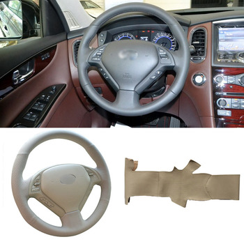 DIY Sewing-on PU Leather Steering Wheel Cover Exact Fit For Infiniti G25 G35 G37 QX50 EX25 EX35 EX37 2008-2013