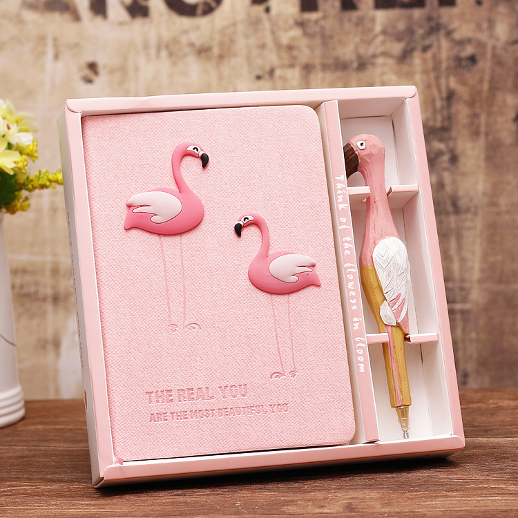 Jonvon Satone Pink Girl Notebook Zakka Lovers Flamingo Notebooks Gift Box Set School Supplies Planners Escolar Stationery Sketch