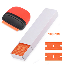 FOSHIO 100pcs Plastic Razor Blade+Carbon Fiber Sticker Remover Scraper Vinyl Film Wrap Window Tint Tools Clean Squeegee