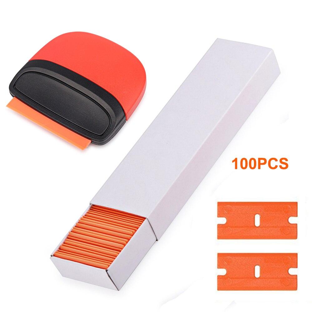 foshio 100 pcs lamina de barbear plastico removedor de adesivo de fibra carbono lamina raspador filme