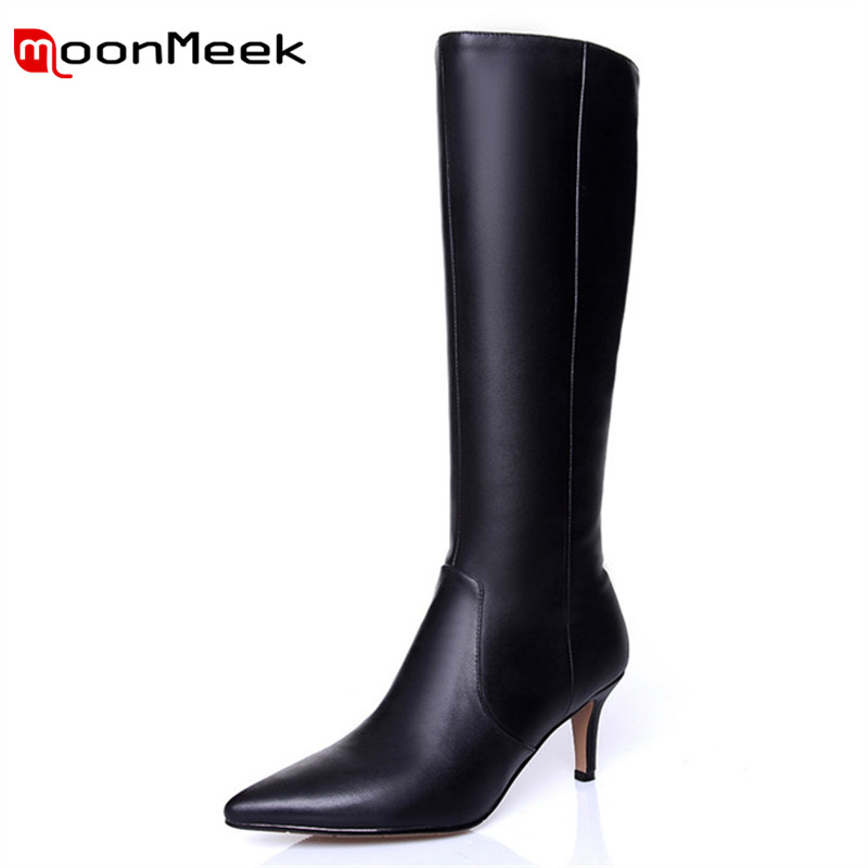 MoonMeek top quality 2018 hot sale woman brand long boots elegant pointed toe knee high boots genuine leather boots ladies цена 2017