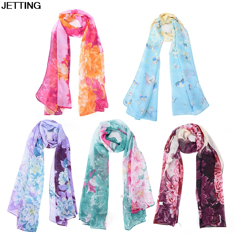 1 pcs Women Long Scarf Butterfly Flower Clothing Accessories 160*50cm Fashion Chiffon Printed Scarves