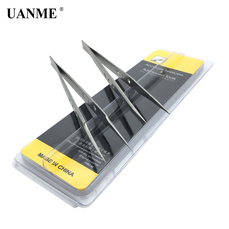 UANME AAA-12S AAA-14S AAA-15S Precision Pointed Tweezers Stainless Steel Clamps Lengthened Medical Anti-Static Tweezer Tool