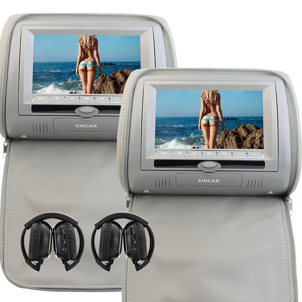 7-дюймовый серый автомобиль подголовник монитор цифровой двойной экран DVD-плеер Поддержка USB/SD/ИК/FM-передатчик/игры+2 ИК беспроводные наушники