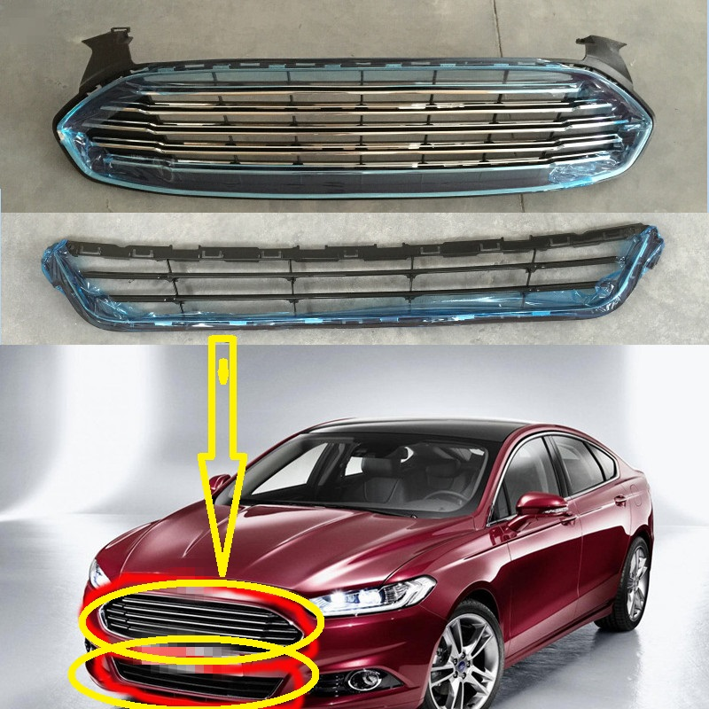 2 Pcs/Set Front bumper Upper and Lower mesh grille grill with electroplate chrome for New Ford Mondeo Fusion 2013