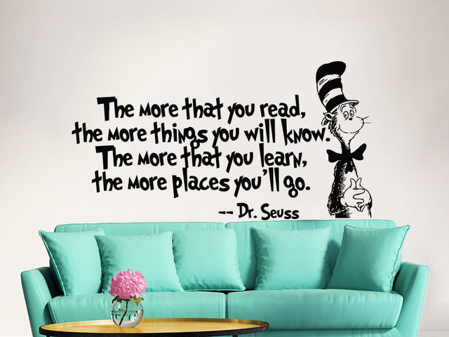 The More That You Read Quotes Dr Seuss Wall Mural Vinyl Quotes Saying Wall  Sticker Home Part 39
