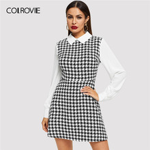775d8d0ea93fe COLROVIE Kontrast Yaka Balıksırtı Giysisi Kore Gömlek Elbise Kadın Giyim  2019 Bahar Bir Çizgi Uzun Kollu Bayanlar Mini Elbise
