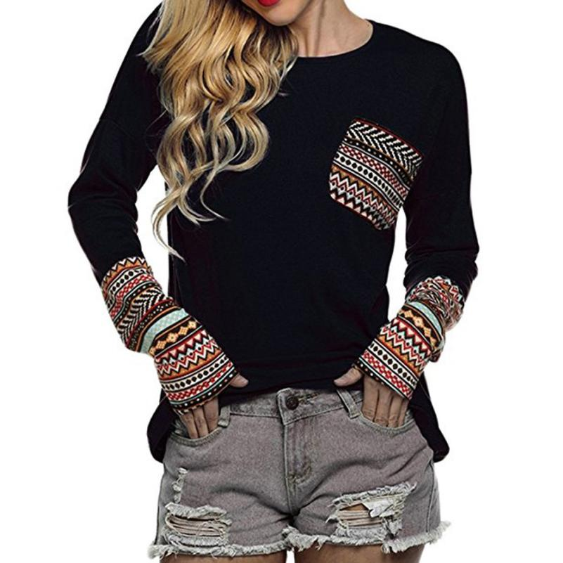 Free Ostrich Women's Patchwork Casual Loose T-shirts Tops With Thumb Holes S40