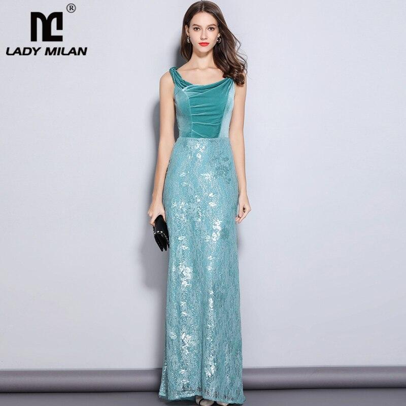 New Arrival Women s Party Prom Slash Neckline Embroidery Lace Velvet Patchwork Elegant Maxi Long Designer