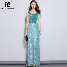New Arrival Womens Party Prom Slash Neckline Embroidery Lace Velvet Patchwork Elegant Maxi Long Designer Dresses