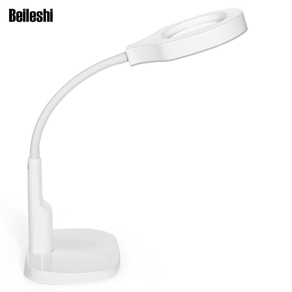 Beileshi TS Pliable De Bureau Loupe Loupe Loupe avec 5X/12X Lentille Lampe Loupe LED Lampe