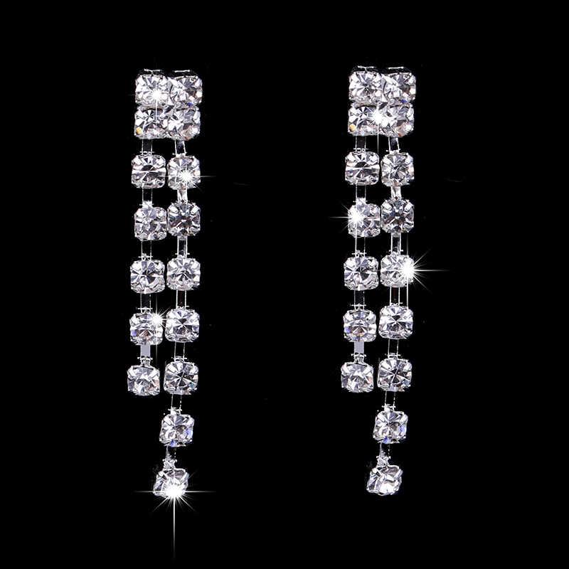 11,11 алиэкспресс Лидер продаж свадебные комплекты ювелирных изделий кристалл свадебные подарки Серебряное колье ожерелье серьги набор Свадебные ювелирные изделия для женщин