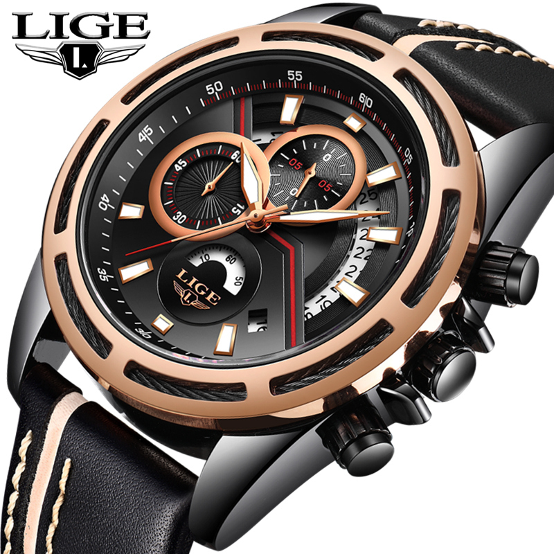 LIGE Fashion Casual Sport Mens Watches Top Brand Luxury Quartz Watch Men Leather Waterproof Military Watches Relogio Masculino casual mens watches top brand luxury men s quartz watch waterproof sport military watches men leather relogio masculino benyar