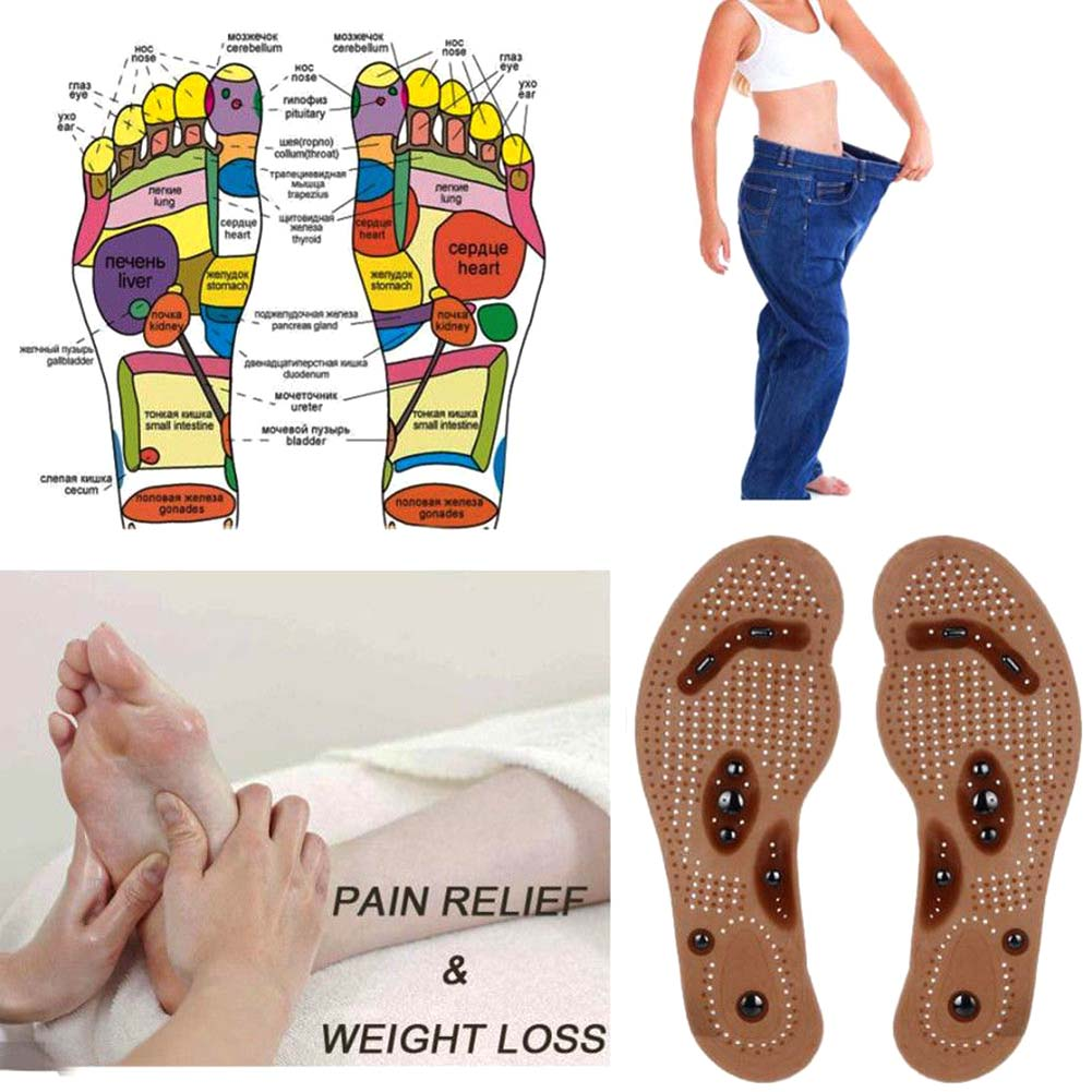 1 Pair Health Slimming Insoles For Women Men Foot Care Cushion Acupressure Slimming Lose Weight Insole Pad Magnetic Massager
