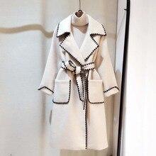 Lanmrem 2020 outono e inverno nova moda casual jaqueta feminina solta mais cor sólida ondulado lado com casaco de lã tc588