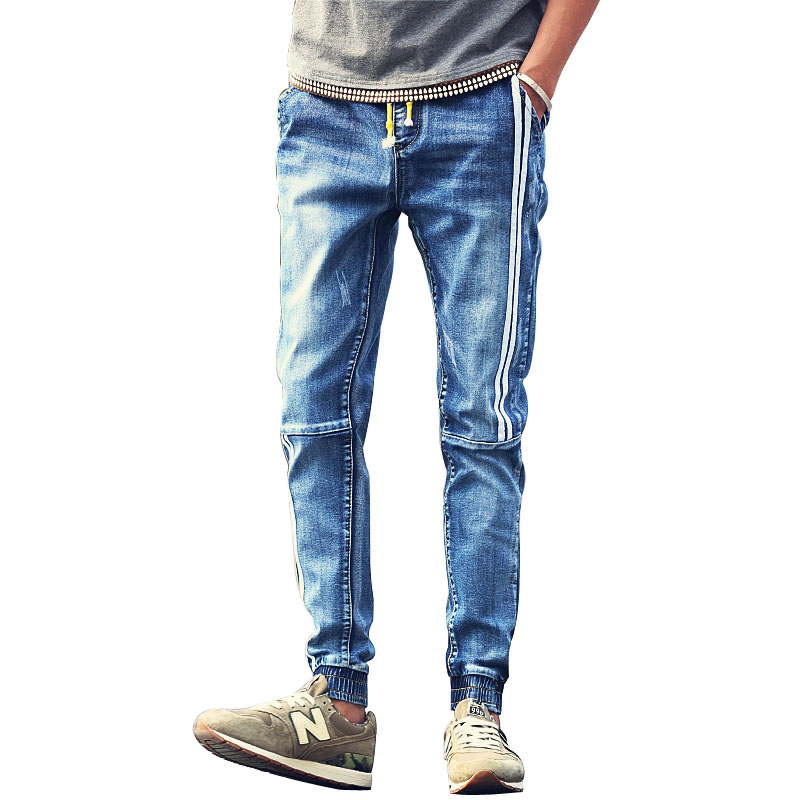 Men-s-jeans-Youth-popular-personality-fashion-white-stripes-stitching-drawstring-pants-beam-Casual-clothing-boutique