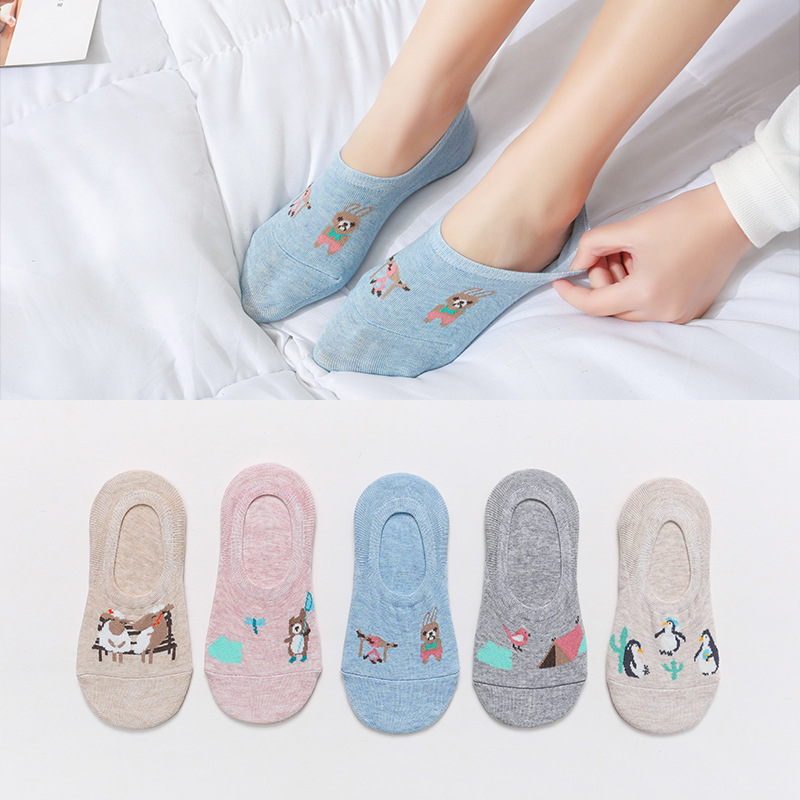 5 Pairs/lot Fashion Korea Summer Cartoon Animal women Socks Rabbit Cat Fox boat socks Cotton Cute Kawaii invisible ankle Socks