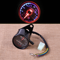 Motorcycle LED Odometer Speedometer Gauge With Indicator Light Reset Switch For Honda Yamaha Harley Davidson Bobber