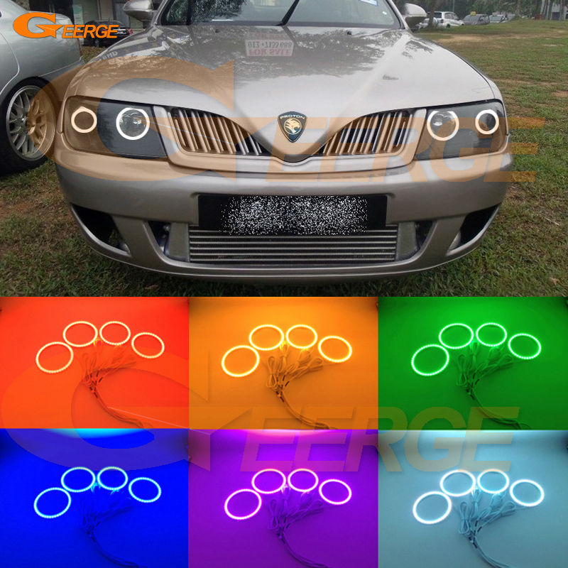 For Proton Waja 2000-2011 Excellent Angel Eyes Multi-Color Ultra bright RGB LED Angel Eyes kit Halo Rings for mercedes benz b class w245 b160 b180 b170 b200 2006 2011 excellent multi color ultra bright rgb led angel eyes kit