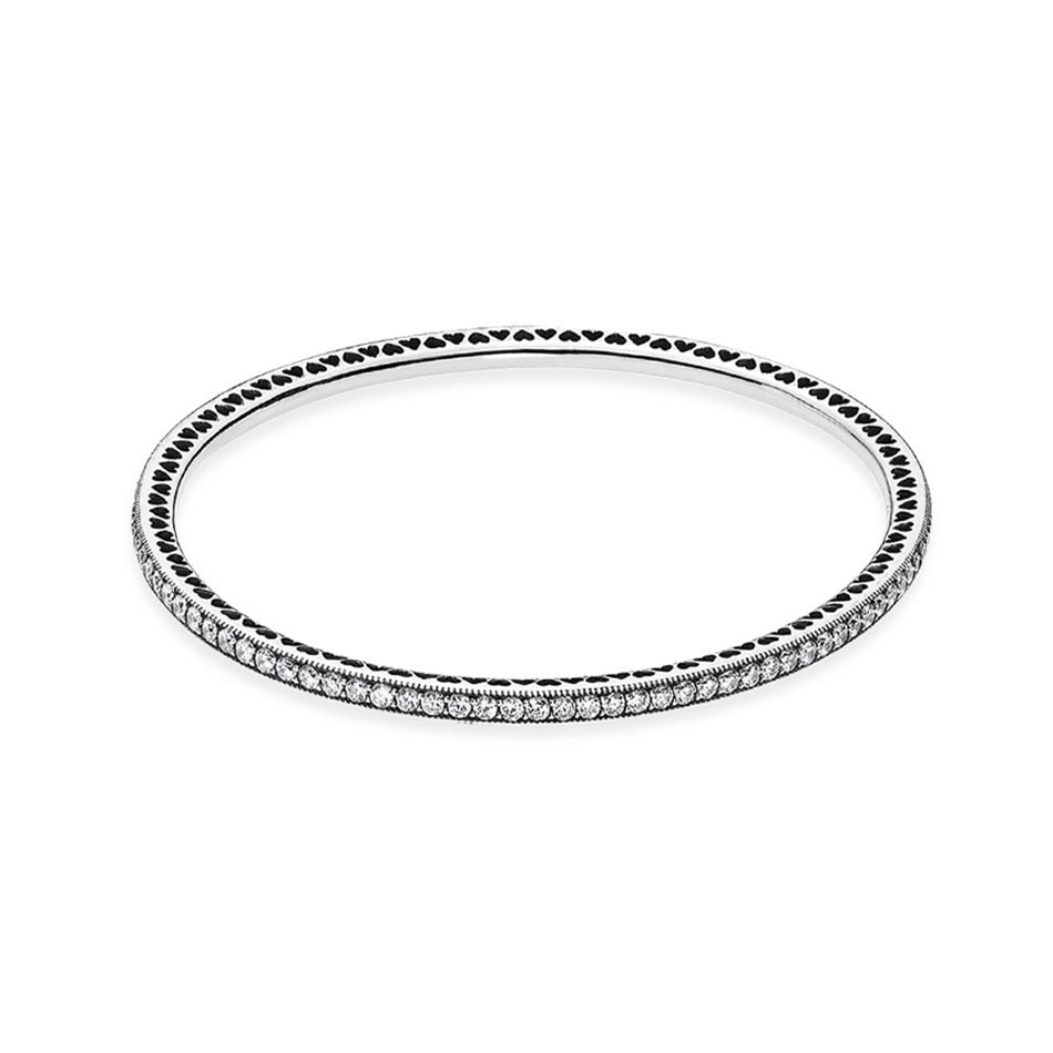 Authentic 925 Sterling Silver Twinkling Forever With Crystal Bangle Bracelet For Women fit Lady Bead Charm DIY Jewelry